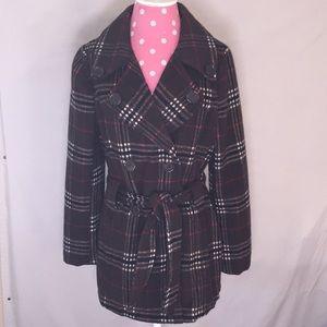 JouJou Sz M brown plaid ploy/wool coats pockets